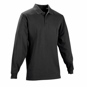 the Police Public Safety | Long Sleeve Black Performance Polo Shirt | Athletic Material Police Fireman Uniform Duty Shirt has a collar