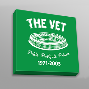 The Vet Pride, Pretzels, Prison Canvas | Veterans Stadium Kelly Green Wall Canvas the front of this canvas has the vet stadium