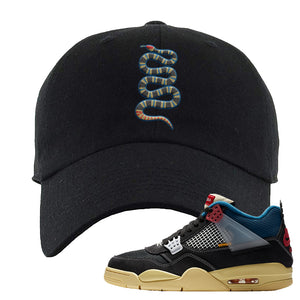 Union LA x Air Jordan 4 Off Noir Dad hat | Coiled Snake, Black