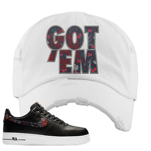 Air Force 1 Low Black Floral Distressed Dad Hat | Got Em, White