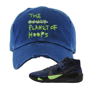 KD 13 Planet of Hoops Distressed Dad Hat | Planet Of Hoops Lettering, Navy