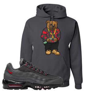 Air Max 95 Dark Gray and Red Pullover Hoodie | Sweater Bear, Charcoal Grey