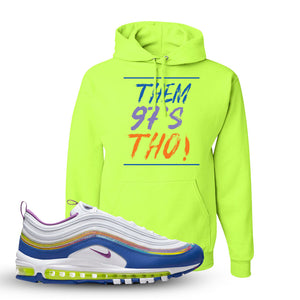 Air Max 97 'Easter' Sneaker Safety Green Pullover Hoodie | Hoodie to match Nike Air Max 97 'Easter' Shoes | Them 97's Tho