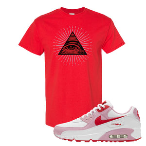 Air Max 90 Love Letter T Shirt | All Seeing Eye, Red