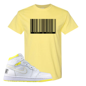 Air Jordan 1 First Class Flight First Class Barcode Yellow Sneaker Matching T-Shirt