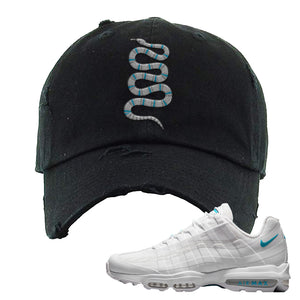 Air Max 95 Ultra White Glacier Blue Distressed Dad Hat | Coiled Snake, Black