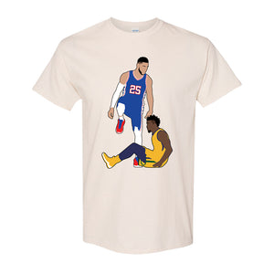 Simmons Step Over Tee Shirt | Ben Simmons Step Over Natural T-Shirt the front of this shirt has the simmons stepover design