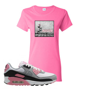 WMNS Air Max 90 Rose Pink Blessed Rose Azalea Women's T-Shirt To Match Sneakers