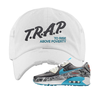 Air Max 90 Rice Ball Distressed Dad Hat | Trap To Rise Above Poverty, White