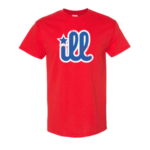 ILL Logo T-Shirt | ILL Logo Red T-Shirt the front of this shirt has the blue and white ill logo