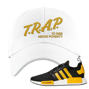 NMD R1 Active Gold Dad Hat | White, Trap To Rise Above Poverty