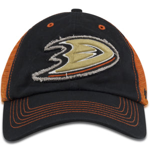 Anaheim Ducks '47 Brand Black/Orange Mesh-Back Trucker Flex Cap