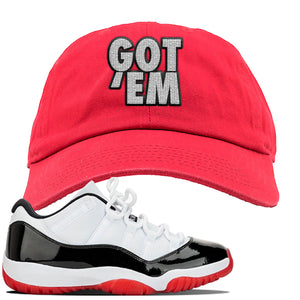 Jordan 11 Low White Black Red Sneaker Red Dad Hat | Hat to match Nike Air Jordan 11 Low White Black Red Shoes | Got Em