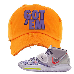 Kyrie 6 Asia Irving Distressed Dad Hat | Got Em, Orange