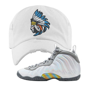 Lil Posite One Rainbow Pixel Distressed Dad Hat | White, Indian Chief