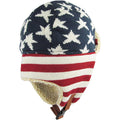 the bottom of the usa stars and stripes trapper hat has red and white stripes