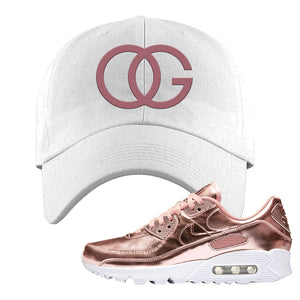 Air Max 90 WMNS 'Medal Pack' Rose Gold Sneaker White Dad Hat | Hat to match Nike Air Max 90 WMNS 'Medal Pack' Rose Gold Shoes | OG