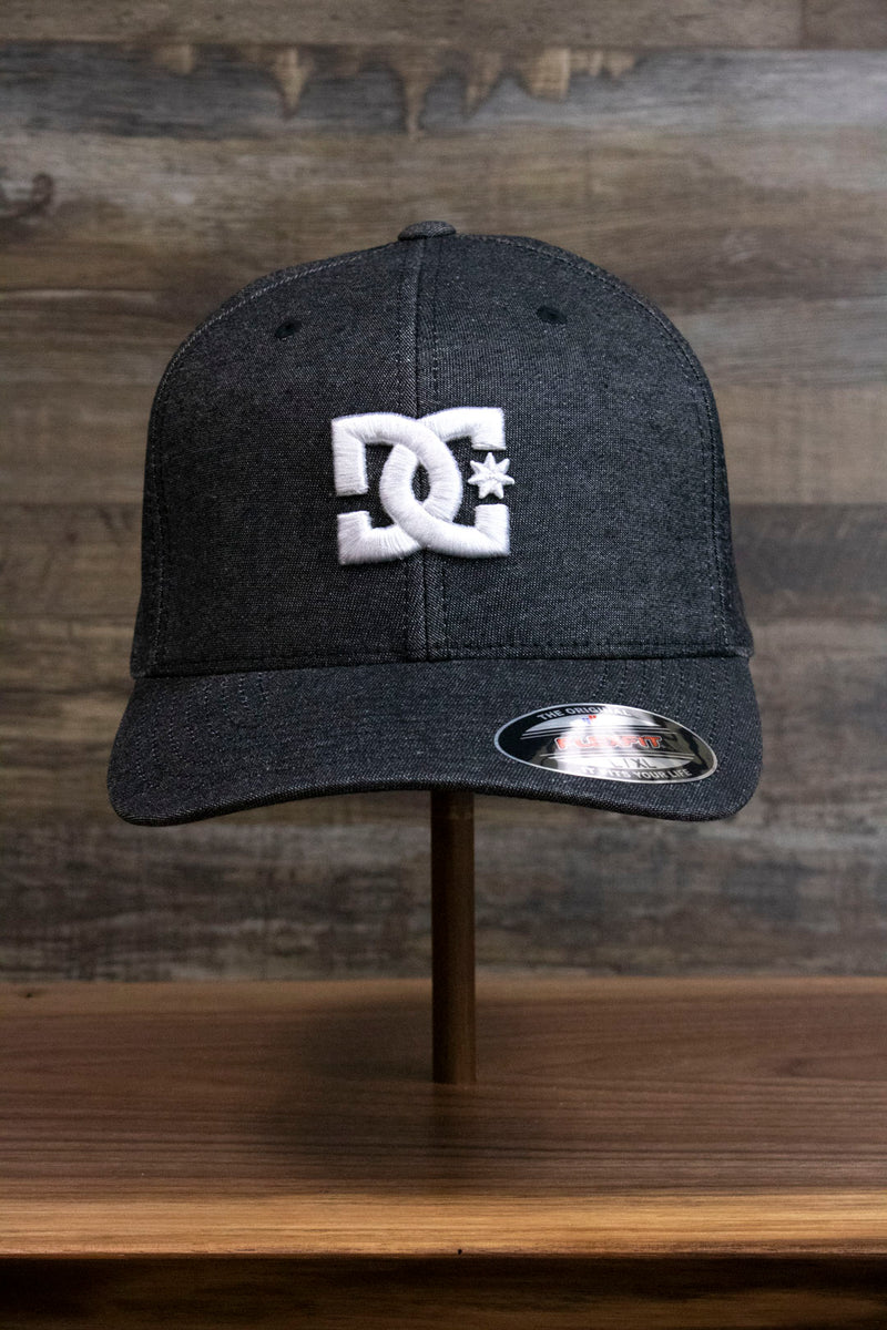 the Dark Gray Bentbrim Skater Hat | DC Shoes Black Bottom Heather Gray Flexfit Cap has a white puff logo on the front