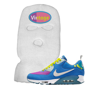 Undefeated x Air Max 90 Pacific Blue Sneaker White Ski Mask | Winter Mask to match Undefeated x Nike Air Max 90 Pacific Blue Shoes | Vintage Oval