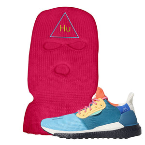 Foot Clan Pharrel Williams X SolarHU Multicolor HU Triangle Hot Pink Ski Mask  Wear your sneakers in style with this Pharrel Williams X SolarHU Multicolor Sneaker Hot Pink Ski Mask. The HU Triangle logo on the front of this Pharrel Williams X SolarHU Multicolor Sneaker Hot Pink Ski Mask is a must-have design for your sneaker matching outfit. Match your kicks today!