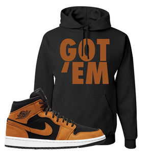 Air Jordan 1 Mid Wheat Hoodie | Got Em, Black