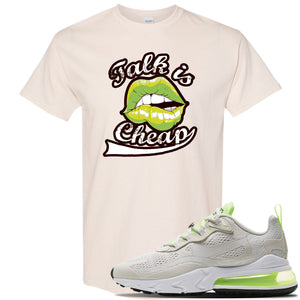 Air Max 270 React Ghost Green Sneaker Natural T Shirt | Tees to match Nike Air Max 270 React Ghost Green Shoes | Talk Is Cheap
