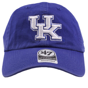 Embroidered on the front of the University of Kentucky wildcats royal blue adjustable dad hat is the UK university of kentucky logo embroidered in white and blue
