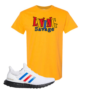 Ultra Boost White Red Blue T Shirt | Gold, Living Savage