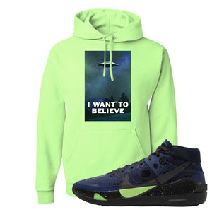 KD 13 Planet of Hoops Hoodie | I Want To Believe, Neon Green
