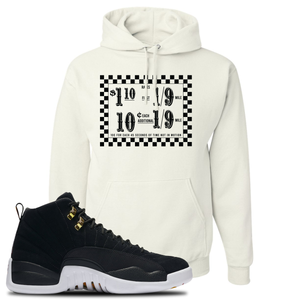 Taxi Fare White Pullover Hoodie To Match Jordan 12 Reverse Taxi Sneakers