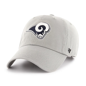 embroidered on the front of the los angeles rams gray dad hat is the rams logo in navy blue and white