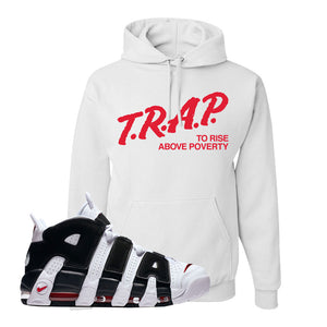 Air More Uptempo White Black Red Hoodie | White, Trap To Rise Above Poverty