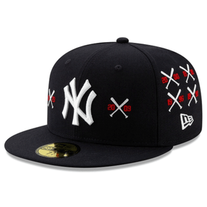 Embroidered on the front of the Spike Lee x New York Yankees Collab 59Fifty Fitted Cap is the New York Yankees logo in white alongside two crossed bat logos embroidered in white and red