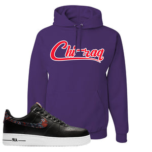 Air Force 1 Low Black Floral Hoodie | Chiraq, Deep Purple
