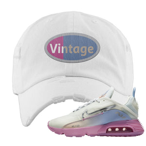 Air Max 2090 Airplane Travel Distressed Dad Hat | Vintage Oval, White