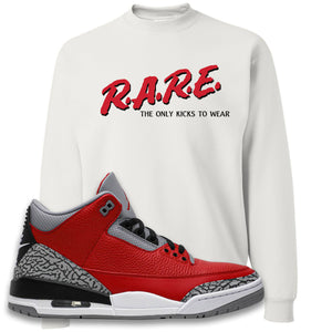 Jordan 3 Red Cement Crewneck Sweatshirt | White, Rare
