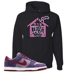 Dunk Low Plum Sneaker Black Pullover Hoodie | Hoodie to match Nike Dunk Low Plum Shoes | Trap House 24/7