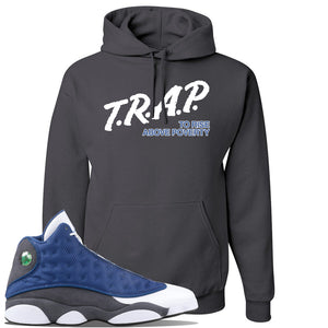 Jordan 13 Flint 2020 Sneaker Charcoal Gray Pullover Hoodie | Hoodie to match Nike Air Jordan 13 Flint 2020 Shoes | Trap To Rise