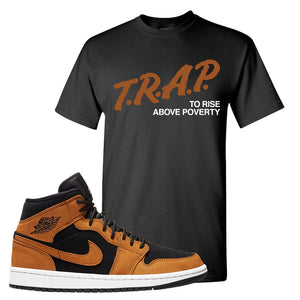 Air Jordan 1 Mid Wheat T Shirt | Trap To Rise Above Poverty, Black