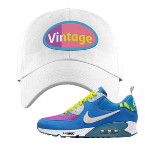 Undefeated x Air Max 90 Pacific Blue Sneaker White Dad Hat | Hat to match Undefeated x Nike Air Max 90 Pacific Blue Shoes | Vintage Oval