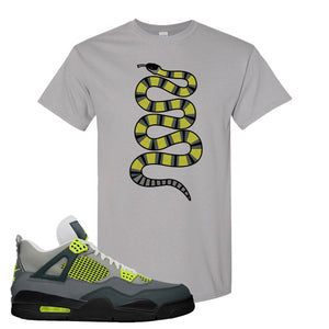 Jordan 4 Neon Sneaker Gravel T Shirt | Tees to match Nike Air Jordan 4 Neon Shoes | Coiled Snake
