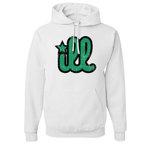 ILL Logo Pullover Hoodie | ILL Logo White Pull Over Hoodie the front of this hoodie has the green and black ill design