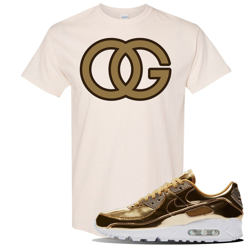 Air Max 90 WMNS 'Medal Pack' Gold Sneaker Natural T Shirt | Tees to match Nike Air Max 90 WMNS 'Medal Pack' Gold Shoes | OG