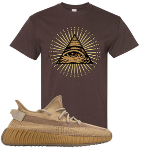 Yeezy Boost 350 V2 Earth Sneaker T-Shirt To Match | All Seeing Eye, Dark Chocolate