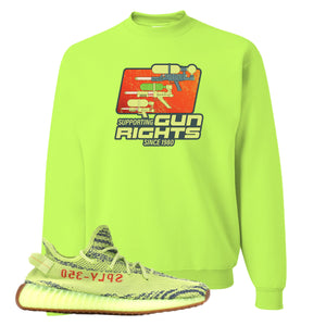 Water Soaker Safety Green Crewneck Sweatshirt to match Yeezy Boost 350 V2 Frozen Yellow Sneaker