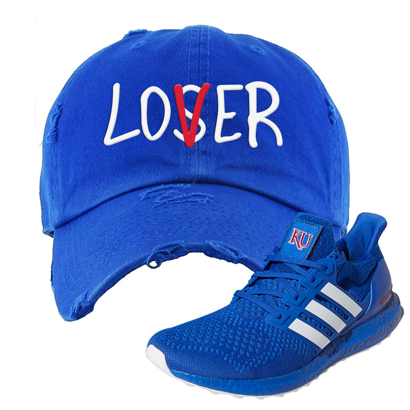Ultra Boost 1.0 Kansas Distressed Dad Hat | Lover, Royal Blue
