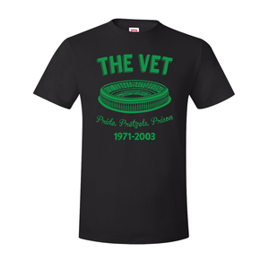 The Vet Pride, Pretzels, Prison T-Shirt | Veterans Stadium Black Tee Shirt the front of this t-shirt has the vet stadium