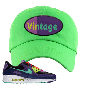 Air Max 90 Cheetah Dad Hat | Vintage Oval, Neon Green