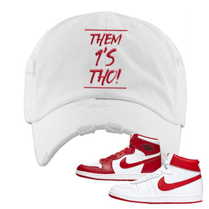 Jordan 1 New Beginnings Pack Sneaker White Distressed Dad Hat | Hat to match Nike Air Jordan 1 New Beginnings Pack Shoes | Them 1's Tho