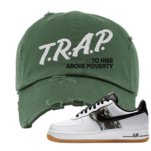Air Force 1 Low Camo Distressed Dad Hat | Trap To Rise Above Poverty, Olive